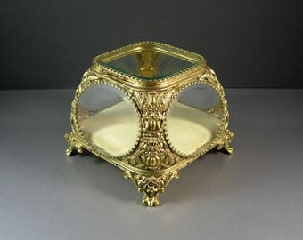 STUNNING Beveled Glass Ormolu Jewelry Casket Wedding Ring Vanity Trinket Box