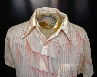 Vintage Men's Sears Kings Road Abstract Striped Bright Speckled Short Sleeve Shirt Size Large!