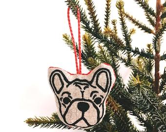 French Bulldog Christmas Decorationn- Natural Linen