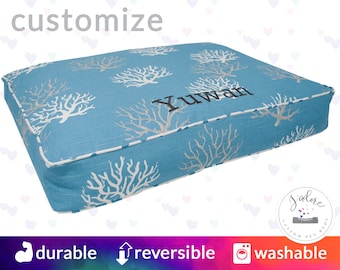 Blue Coastal Dog Bed - Rectangle Small, Medium, Large - High Quality Fiberfill insert!