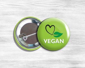 """Vegan Vegetarian """"Vegan"""" Pinback Button Pin 1.75"""" Green With Heart Leaf"""
