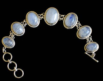 Sterling Silver. Moonstone. Beautiful Sterling Silver with Genuine Moonstone Bracelet. Size 8.5