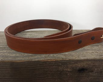 "1"" Wide Leather Belt with Western Buckle"