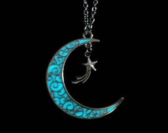 Moon And Shooting Star Necklace Glow In The Dark Necklace Antique Silver