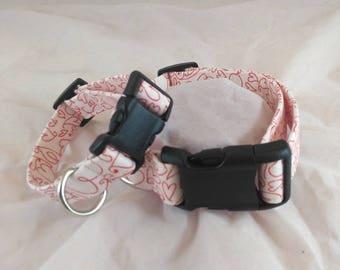 Valentine's Day Collar, Dog Collar, Breakaway Cat Collar, Small Dog Collar, Les Fleurs Dog Collar, Collier de chien, collar de perro