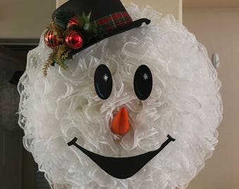 Snowman wreath, christmas wreath, holiday wreath, snowball mesh wreath, holiday décor, winter wreath