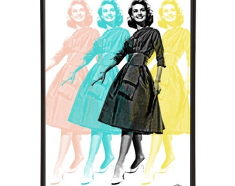 Four Aprils - Pop art of leading lady Janette Scott from the 1960 classic British comedy film School for Scoundrels