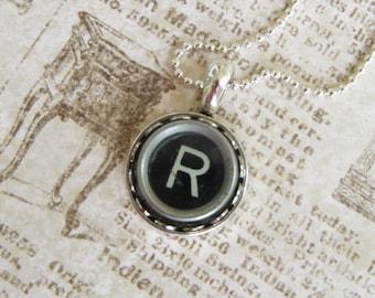 The Letter R Vintage Typewriter Key Necklace Pendant