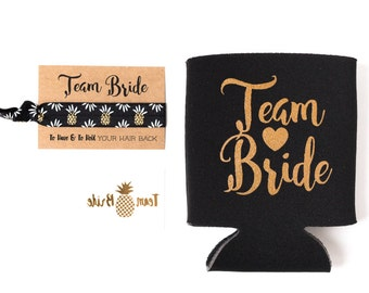 Black + Gold Team Bride Bachelorette Gift Set | Metallic Gold Tattoo, Hair Tie + Drink Cooler | Bachelorette Party Favor