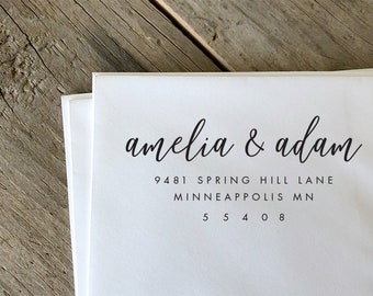 Address Stamp, Custom Return Address Stamp, Self Inking Return Address Stamp, Custom Rubber Stamp, Personalized Self Inking Wedding Stamper