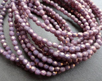 3mm Fire Polished Beads - Opaque Purple Luster - Faceted Rounds - Czech Glass Beads