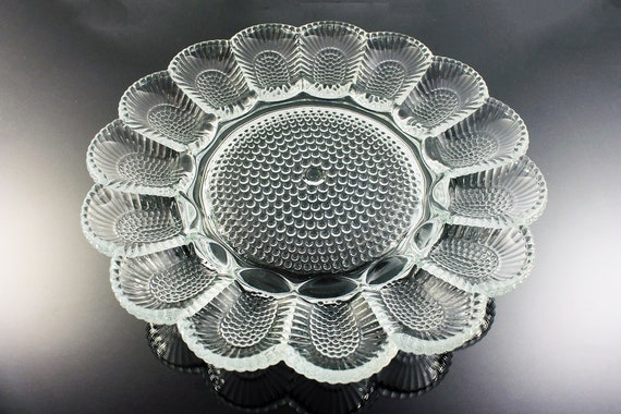 Deviled Egg Relish Tray, Indiana Glass, Crystal Happenings, Hobnail Pattern, Clear Glass, Serving Relish Platter, Holds 15 Eggs
