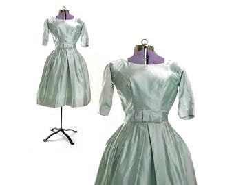 1950s Prom dress 50s mint green dress party satin cocktail vintage short retro 1969s 60s women's fancy  formal maid of honor
