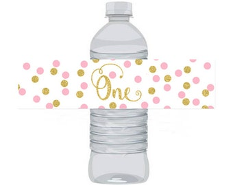 Pink and Gold Birthday Water Bottle Labels Birthday ONE, Instant Download Printable Water Bottle Labels, Digital JPEG PDF 780