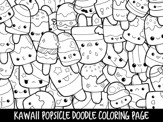 Popsicle Doodle Coloring Page Printable CuteKawaii Coloring