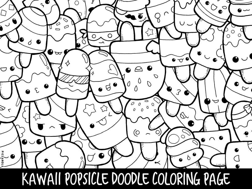 Popsicle doodle coloring page printable cute kawaii coloring for Coloring pages that are cute
