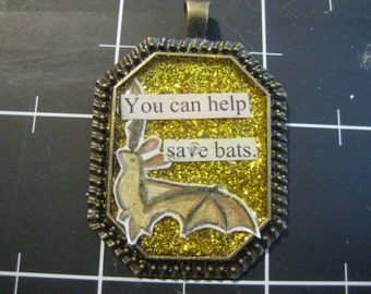 100% Donation: Gold Glitter Bat Pendant, You Can Help Save Bats, all proceeds go to Bat World Sanctuary