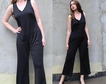 90s Vintage Black Womens Jumpsuit, Sleeveless Jumpsuit, Palazzo Pants Vintage Playsuit, Vintage Black Overalls, Urban Minimalist Clothing L