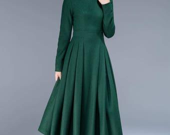 green dress, wool dress, midi dress, pleated dress, fit and flare dress, winter dress, elegant dress, womens dresses, plus size dress 1811