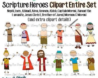CLIPART entire set of 12: Book of Mormon Stick Figure Scripture Heroes