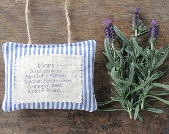 Blue Ticking Stripe Hand Stamped Mothers Day Lavender Hanging Sachet Organic Lavender, Lavender Pillows, Natural Aroma Therapy