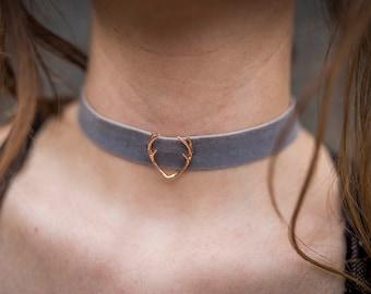 Antlers Necklace / Antler Choker / Antler Necklace / Velvet Choker / Rose Gold Antler Jewelry / Velvet Boho Choker / Velvet choker women