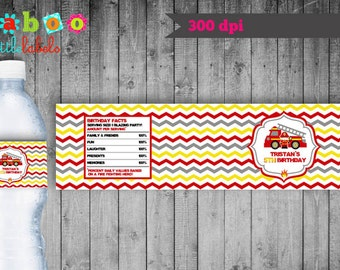 Firetruck Water Bottle Labels / Firefighter Water Bottle Labels /Firetruck Printable/Firetruck Decoration/Firetruck/Firetruck Birthday Party