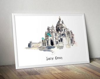 Sacre Coeur Print, Monument Poster, Art Print, Wall Art, Watercolor Painted Monument