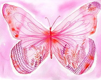 SALE Big Pink Butterfly Archival Wall Art Print Illustration Kids Decor