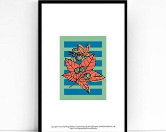 Sweetgum Tree Leaf Print - 5x7 inch artwork - kids room decor - Childrens wall art illustration - fall decorations -stripes - nursery prints