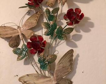 Metal flower butterfly vintage wall art