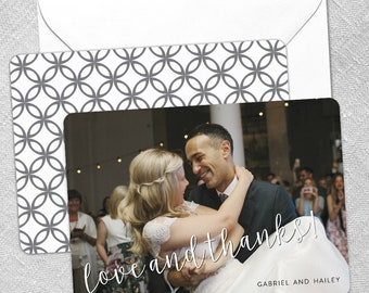 Love and Thanks - Wedding Card - Thank You Card - Includes Back Side Printing + Envelope