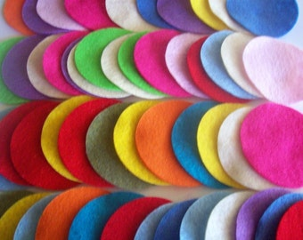 Felt circles, variety of colors and sizes 1, 1.5, 2, 2.5, 3 or 4 inches, felt, fabric circles