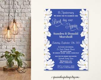 Southern Vow Renewal Invitation, Anniversary Party, 25th Wedding Anniversary, 10th Vow Renewal, 15th Anniversary, Magnolias, Blue