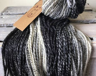 Handspun wool, black, grey white