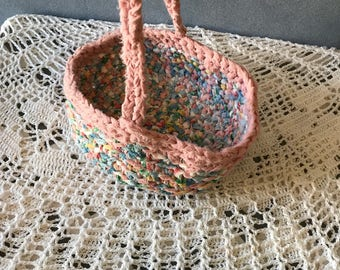 Vintage Woven Cloth Basket, Rag Coiled Rope Style, Shabby Chic Fabric Bowl with Handle