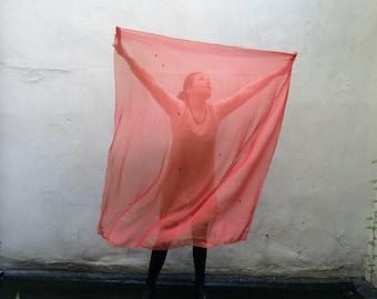 red two tone - Swan Transforming Silk Zodiac Shawl