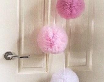 Pom poms Nursery Set, Tulle Pom Poms, Pink Nursery Decor, Hanging Pom Poms, Pom Pom Decor, Bedroom Pom Poms, Pink Pom Poms, Baby Shower Gift