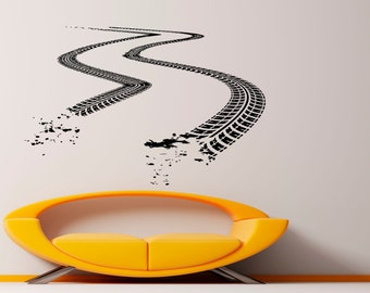 Tire Tracks Wall Vinyl Decal Dirt Road With Traces Stickers Art Murals Design Interior Home Decor (1tr4k)