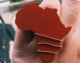 Brown Wood Wrapped Africa Adjustable Ring