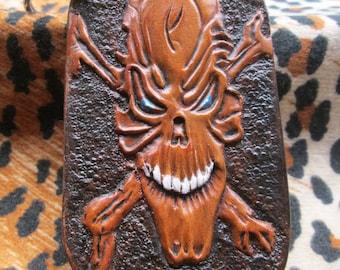 Skull keychain, Handmade key ring, Skull key holder, Skulls, Custom tooled, tooled leather