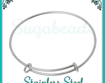 1 Stainless Steel Wire Bangle Bracelet for Charms 7.25 inch - Expandable Silver Wire Bangle WB2