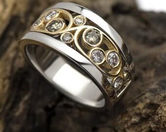 0.60ct Champagne Diamond Ring Two tone 18K White gold & 18K Yellow gold /Genuine Diamond Band FREE SHIPPING
