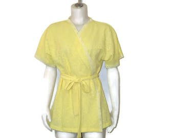 60s Short Robe Short Yellow Robe Yellow Shortie Robe Short Sleeve Robe 1960s Summer Robe Yellow Beach Cover Belted Robe  Yellow Bath Robe