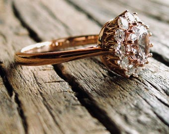 Natural White Sapphire Engagement Ring in 14K Rose Gold with Single Cut Diamonds in Antique-Style Setting Size 4