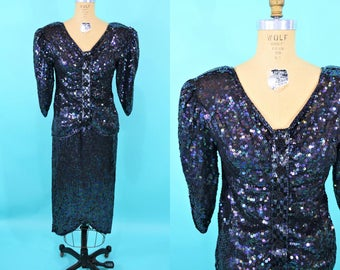 1980s sequin set | purple navy sequined beaded cocktail skirt top | vintage 80s set | W 27""