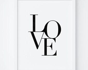 Love Print, Love Wall Art, Printable Art, Typography Print, Love Art Print, Nursery Prints, Nursery Wall Art, Black and White Nursery Art
