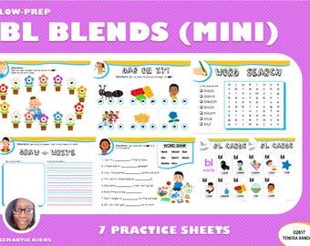 Mini Version: BL Blends Practice Workbook | 13 Pages | LOW PREP