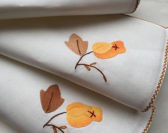 Vintage Cloth Napkins with Appliqued Flowers