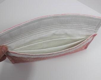 Large quilted pocket wallet pattern for smart phone or checkbook with back zipper pocket